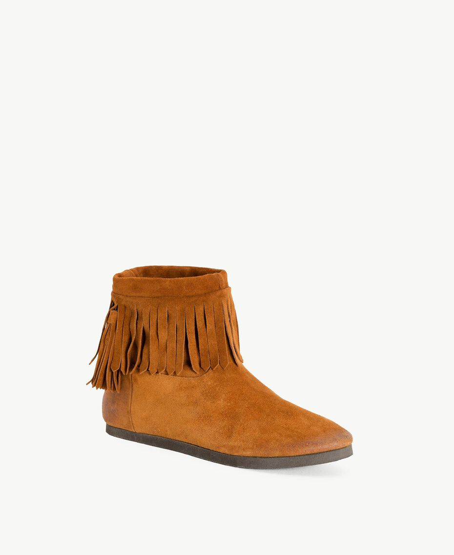 TWINSET Fringed boots Leather Brown Woman CS8TAW-02