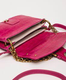 "Small Rebel shoulder bag with croc print ""Black Cherry"" Red Croc Print Woman 201TA7111-06"