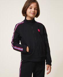 Sweatjacke mit mehrfarbigen Streifen Schwarz Kind 202GJ2710-02