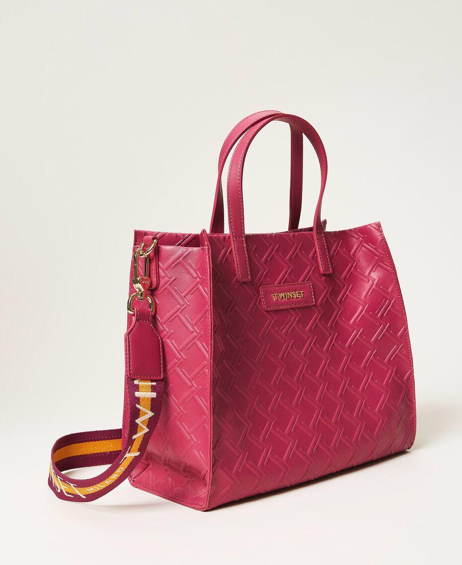 "Borsa shopper Twinset Bag media con logo Viola ""Red Plum"" Donna 202TB7161-02"