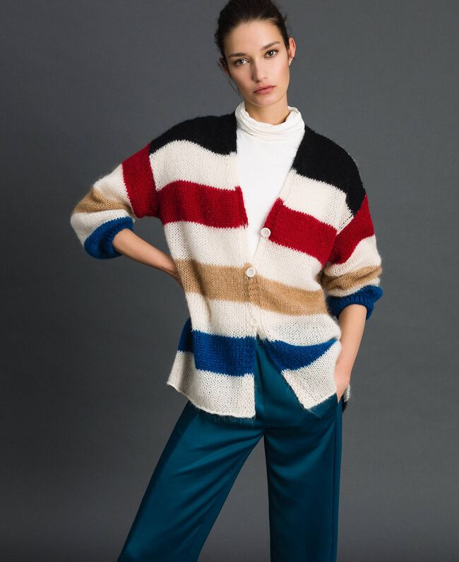 Maxi cardigan avec rayures multicolores Blanc Vanille Femme 192MP3220-01