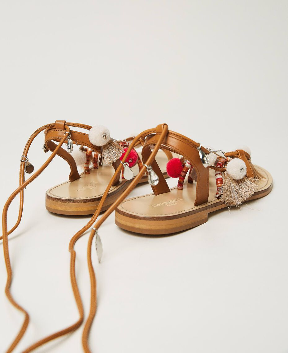 """Leather sandals with pompoms and charms """"Nautical Blue"""" / """"Indigo"""" Blue / Black Multicolour Woman 211TCT180-02"""