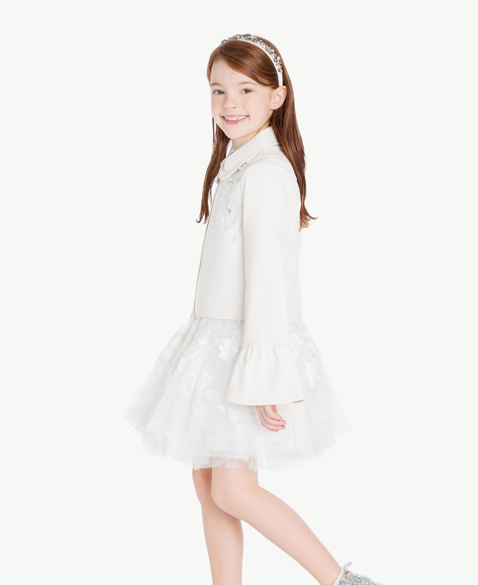 Embroidered jacket Pale Cream Child GS8LFN-03