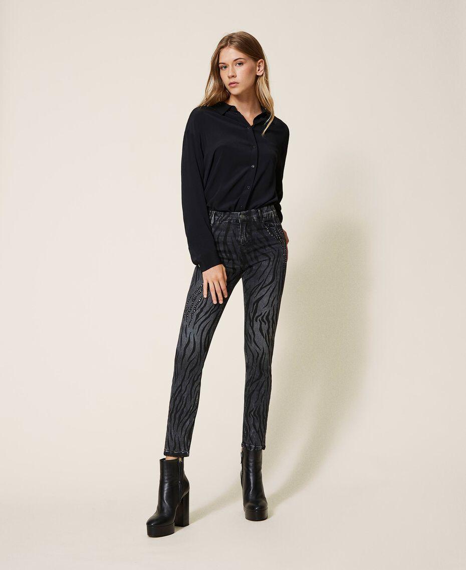 Animal print push-up jeans with studs Black Denim Woman 202MP2221-01