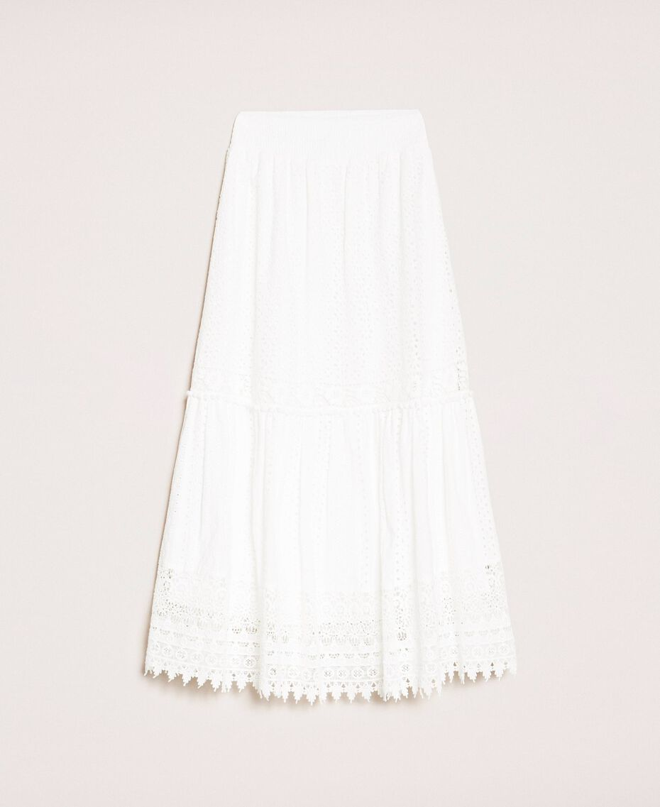Broderie anglaise long skirt with lace White Woman 201LM2LJJ-0S