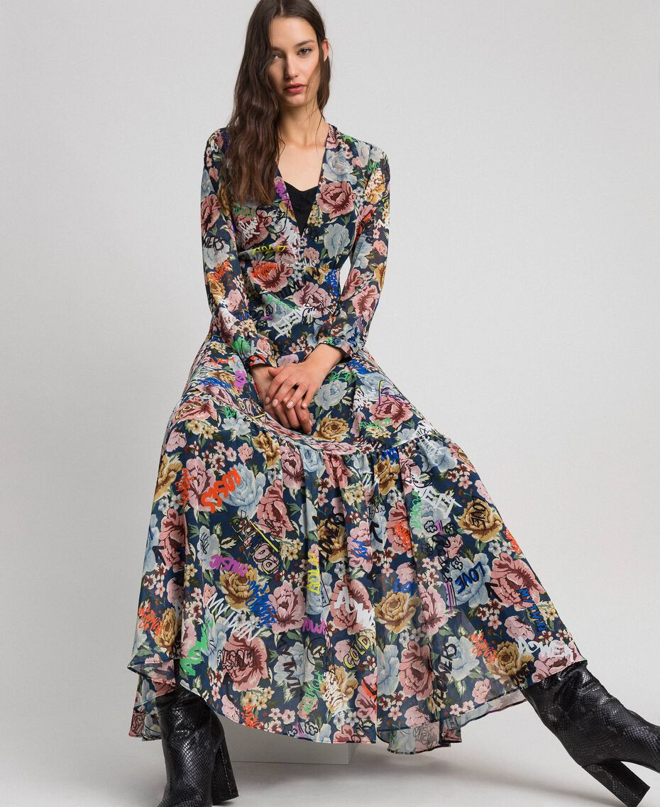 Long dress with floral and graffiti print Blue Flower Graffiti Print Woman 192MP2221-01