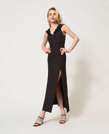 Long cady dress with ruffles Black Woman 211TQ213A-01
