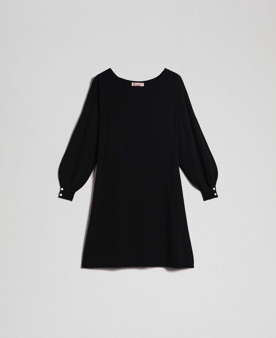 Kleid mit bauschigen Ärmeln mit Perlenknöpfen Schwarz Frau 192TP3241-0S
