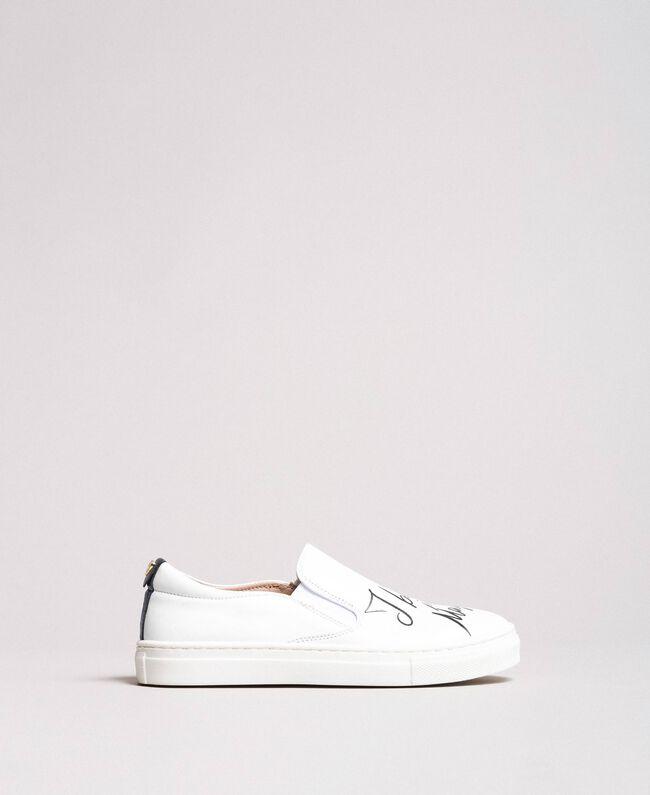 Slip-On-Sneakers mit Aufdruck Weiß Kind 191GCJ052-04