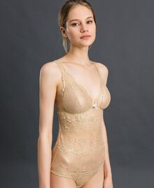 Laminated lace bodysuit Gold Yellow Woman 192LL6H00-02