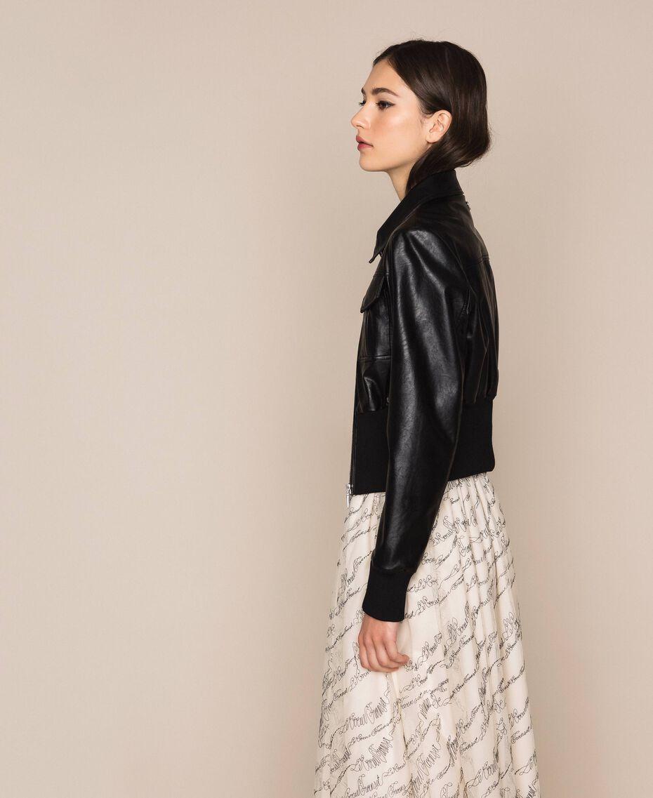 Куртка из искусственной кожи на высоком поясе Черный женщина 201MP2030-02