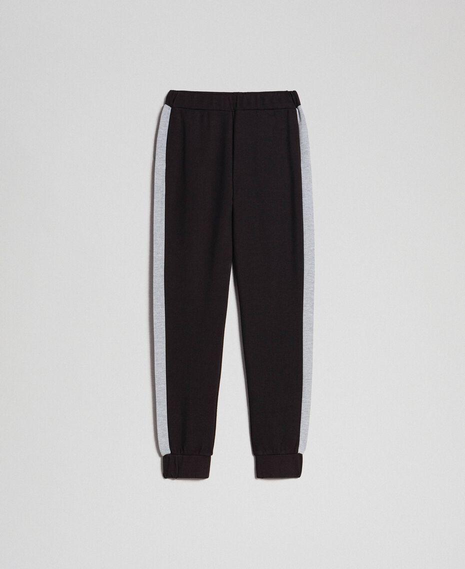 Pantaloni jogging con bande a contrasto Nero / Grigio Mélange Donna 192LI2HDD-0S