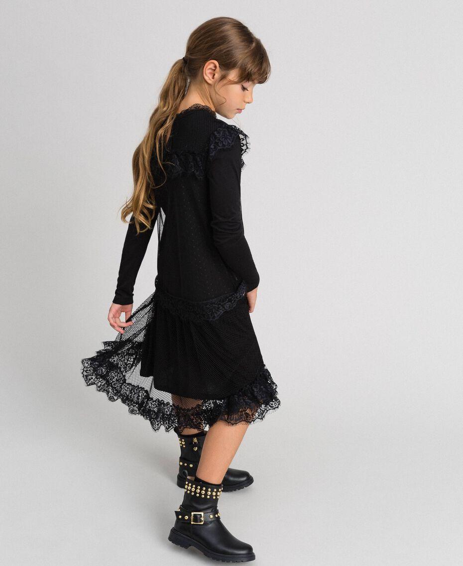 Robe longue en filet, tulle et dentelle Noir Enfant 192GJ2322-01