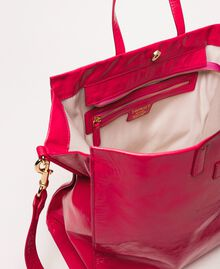 """Large leather shopper with logo """"Jazz"""" Pink Woman 201TO8090-05"""