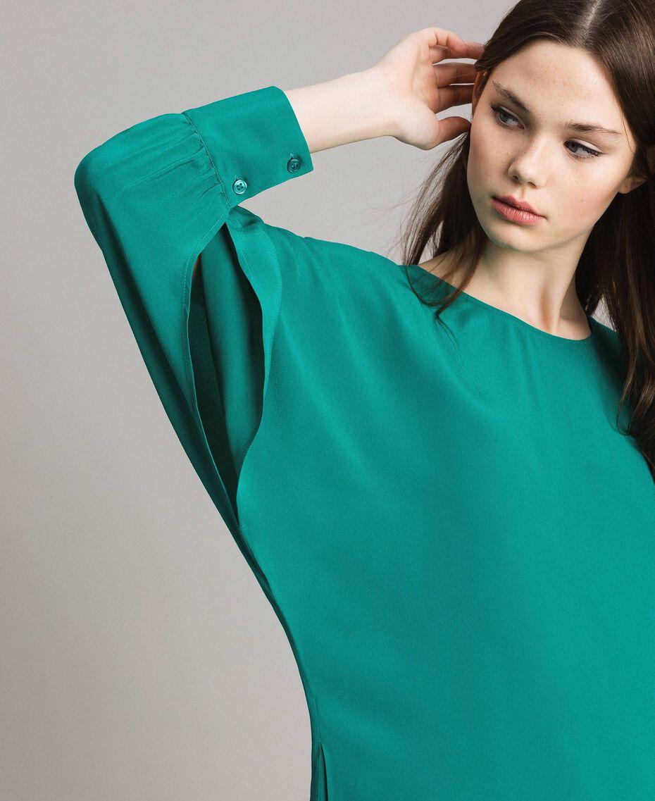 """Silk blend tunic dress """"Pepper Green"""" Woman 191TP2147-05"""