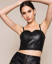 Faux leather bustier top Black Woman 201MP2045-02