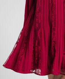 Pleated crêpe and lace dress Ruby Wine Red Child 192GJ2521-03