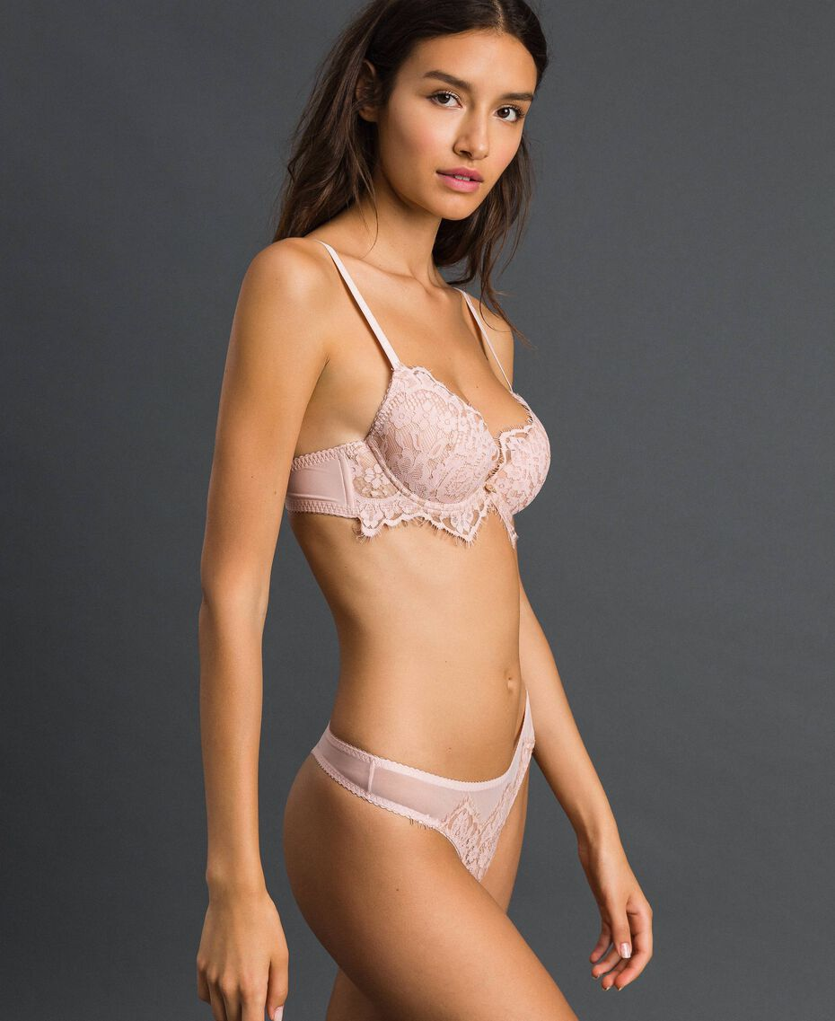 Tulle and lace G-string Pale Rose Woman 192LI6188-02