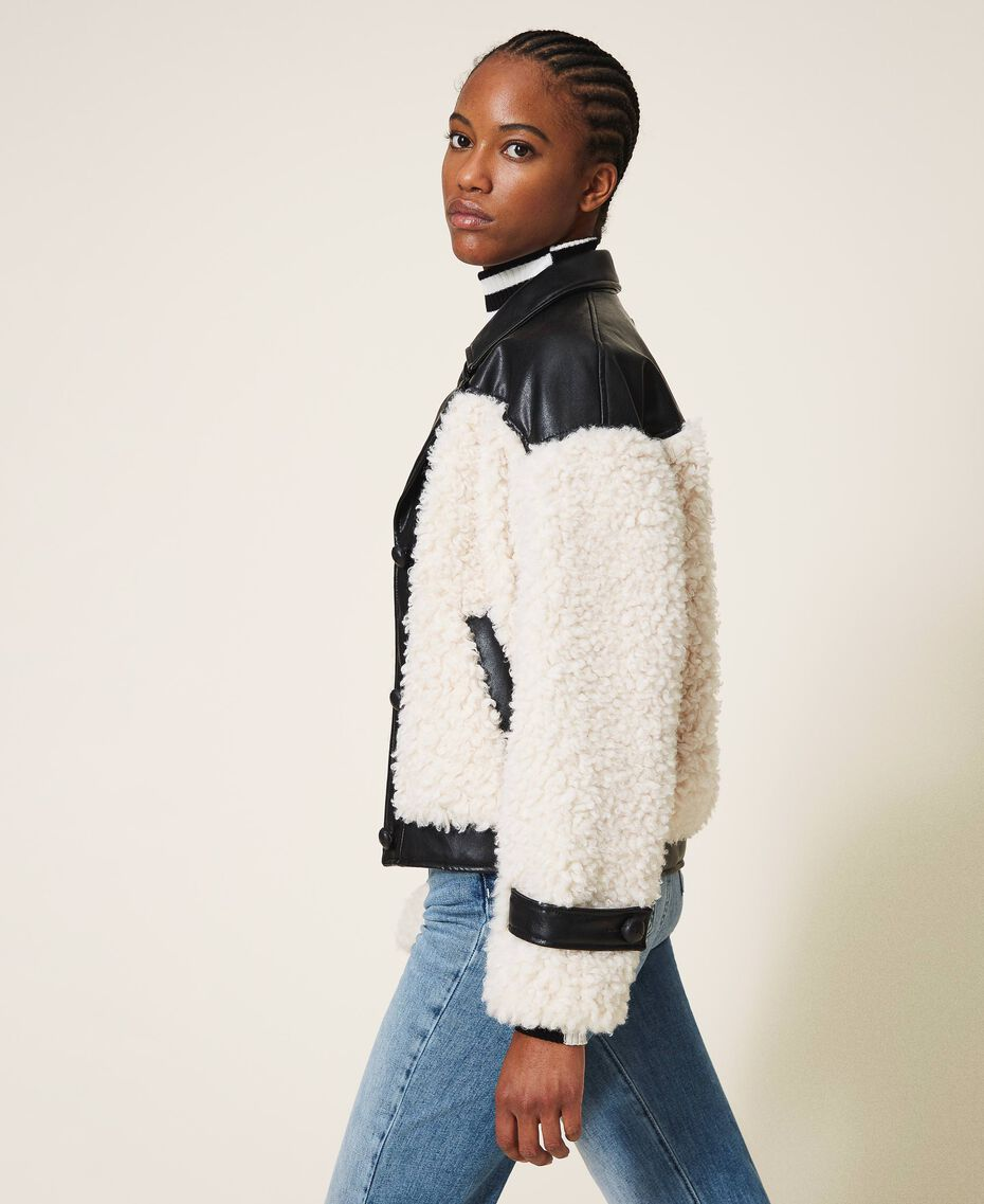 Faux fur bomber jacket Two-tone Black / Cloth White Woman 202MP2270-02