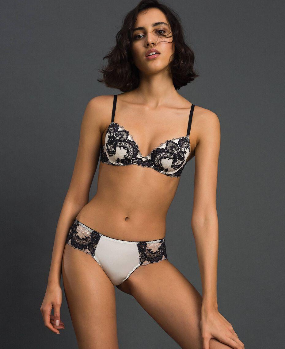 Brazilian-Slip mit Spitze Elfenbein / Schwarz Frau 192LL6DXX-01
