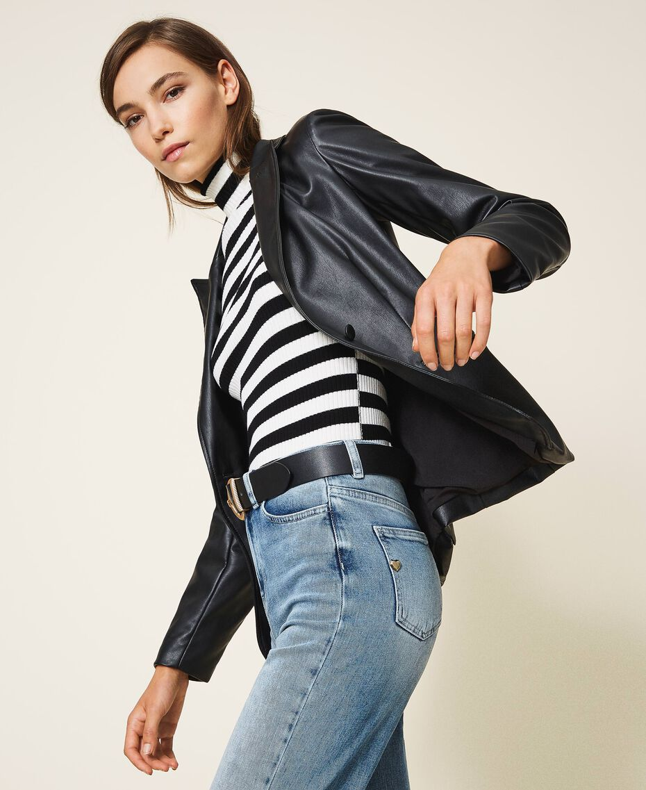 Faux leather blazer Black Woman 202MP2092-02