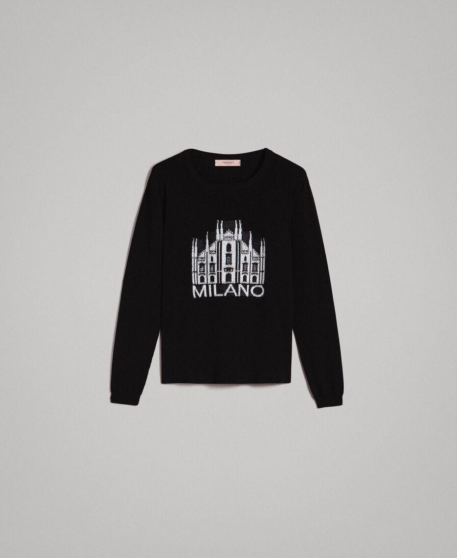 Pullover mit Mailand-Intarsie Schwarz Frau 191TP3382-0S