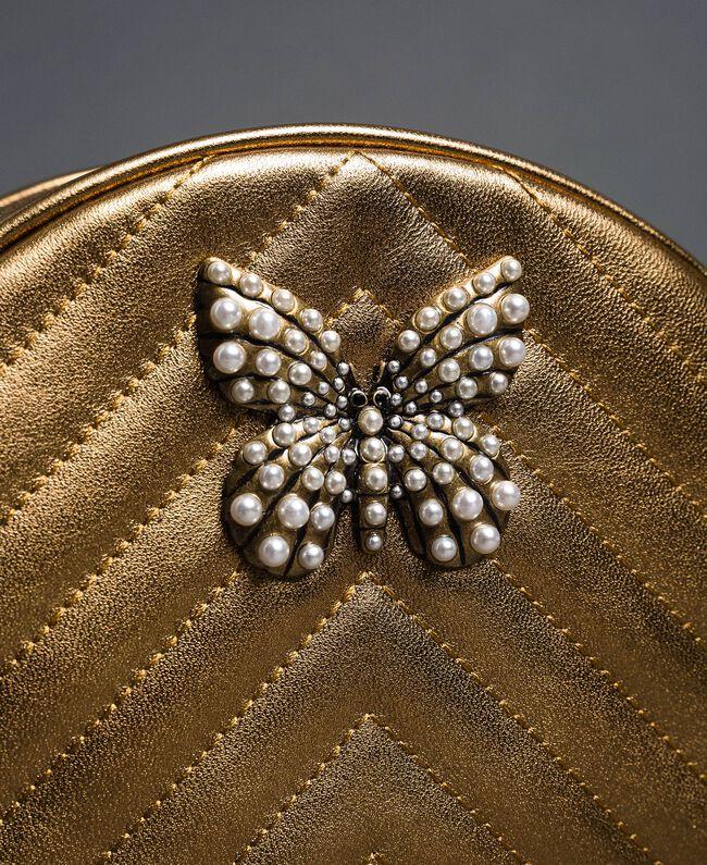 Runde Umhängetasche aus Leder Dunkles Gold Frau 192TO810F-04