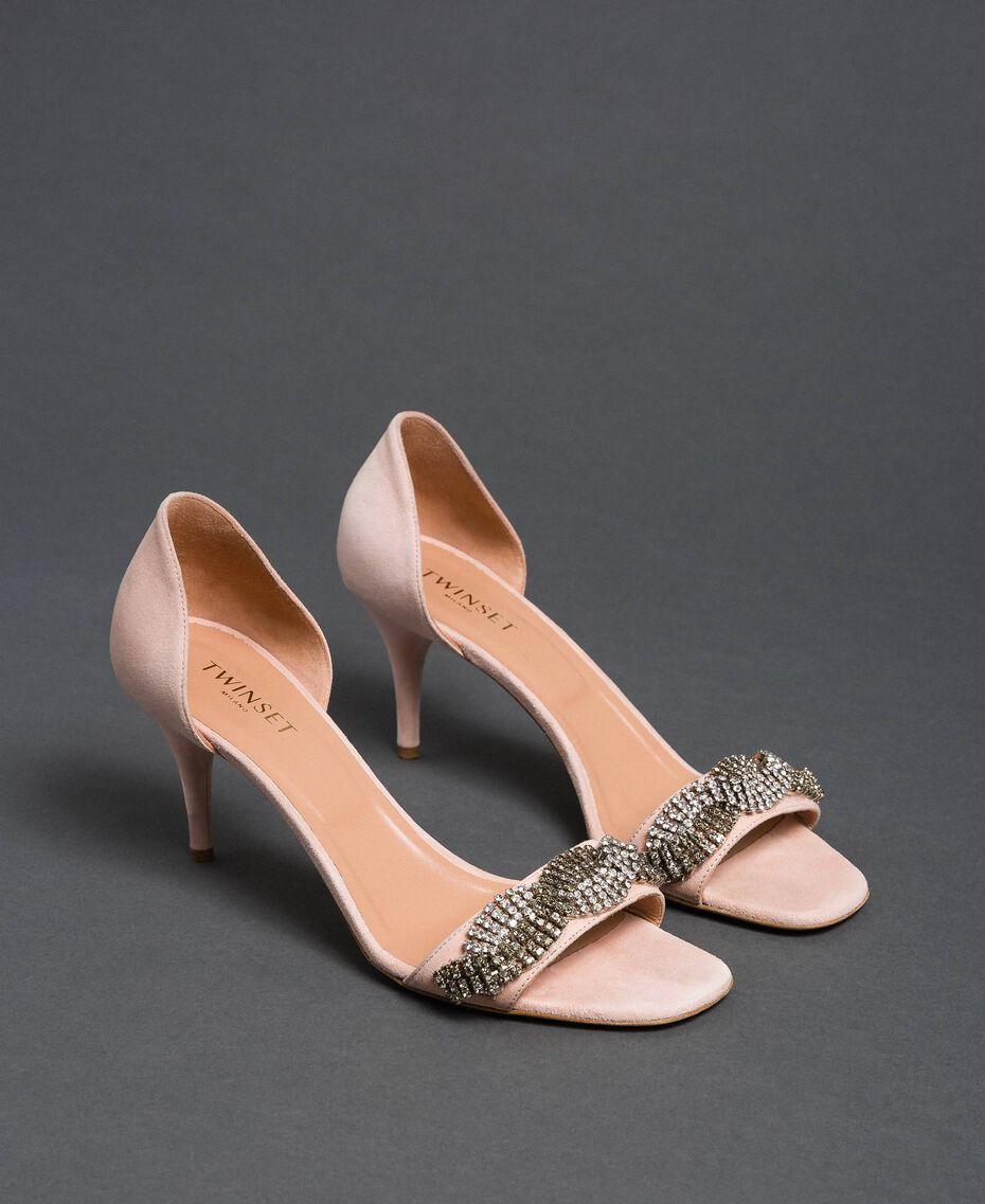 "Sandales en cuir velours avec strass Beige ""Nude"" Femme 192TCP12C-01"