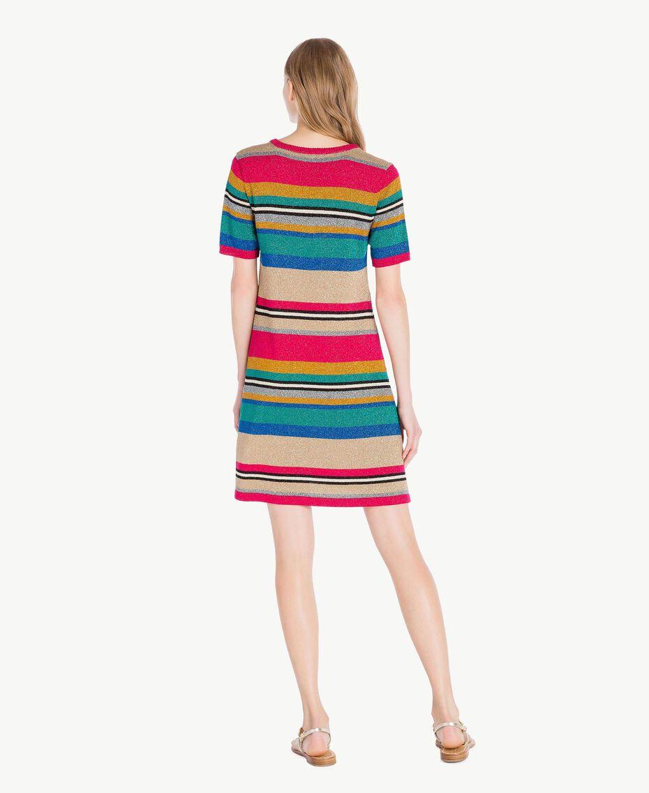 Kleid mit Lurex Multicolor-Lurexstreifen Frau TS833P-03