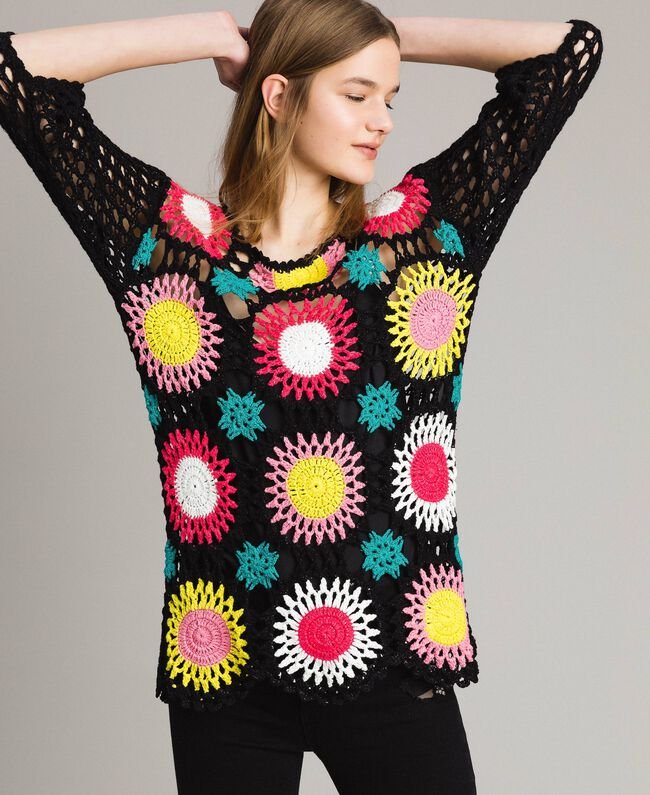 Lurex crochet top Multicolour Black Flowers Crochet Woman 191MT3051-01