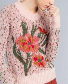 "Floral and polka dot jacquard jumper ""Pale Pink"" Flower Jacquard Woman TA83CC-04"