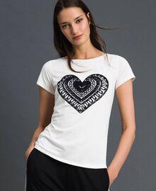 Футболка с вышитым сердцем Слоновая кость женщина 192LI2TEE-04
