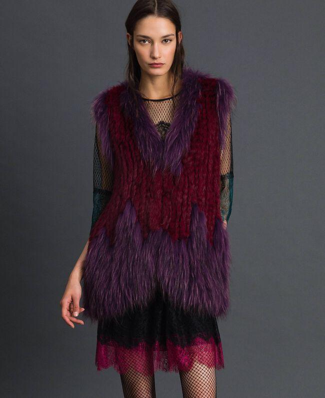 Gilet en fourrure tricot Rouge Betterave / Violet Femme 192TP2010-01