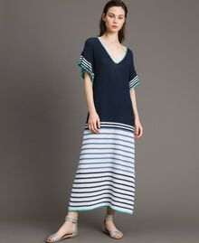 Long striped openwork dress Multicolour Blunight Striping Woman 191MT3082-02