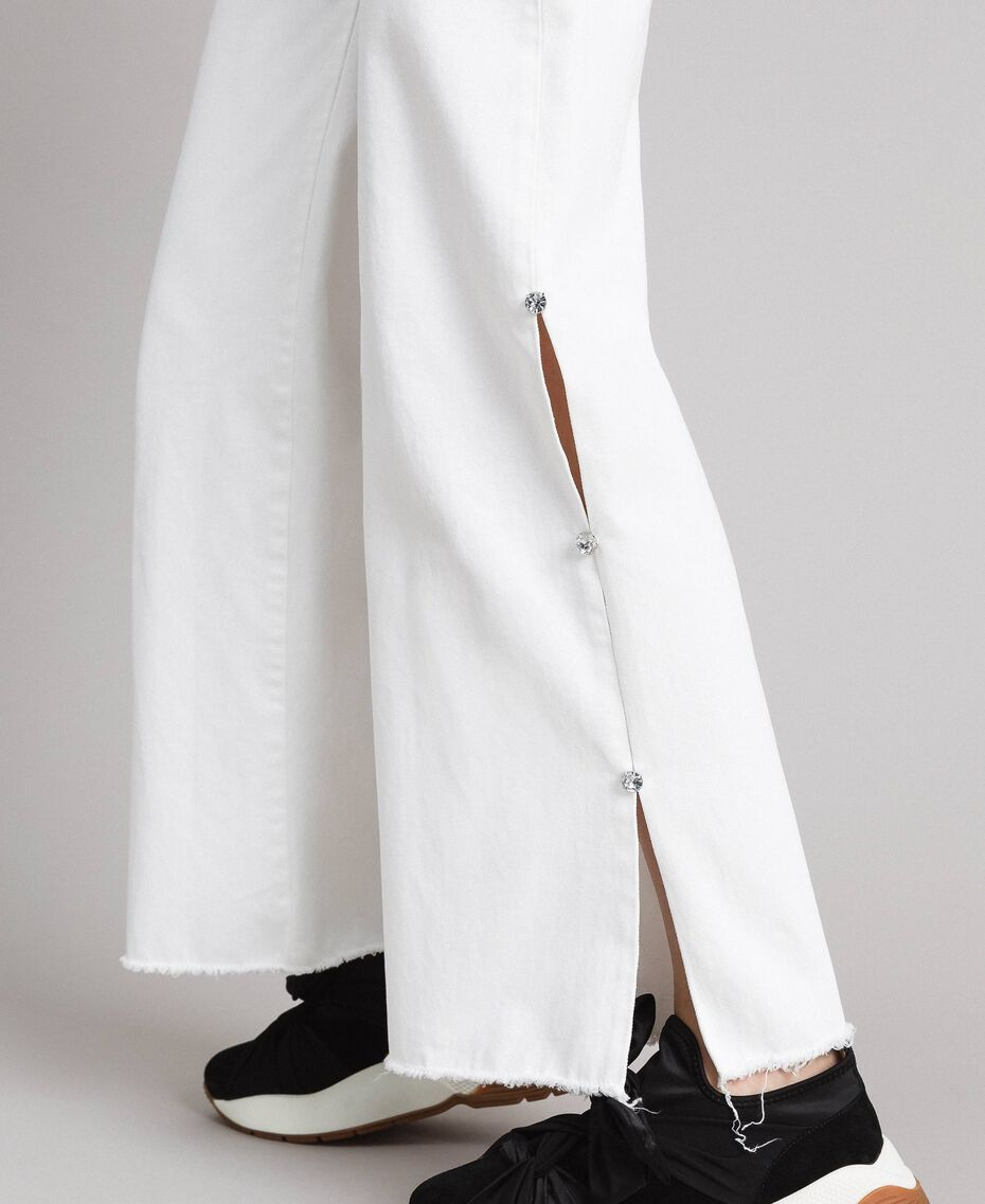 Wide leg jeans with slits White Cream Woman 191MP2500-05