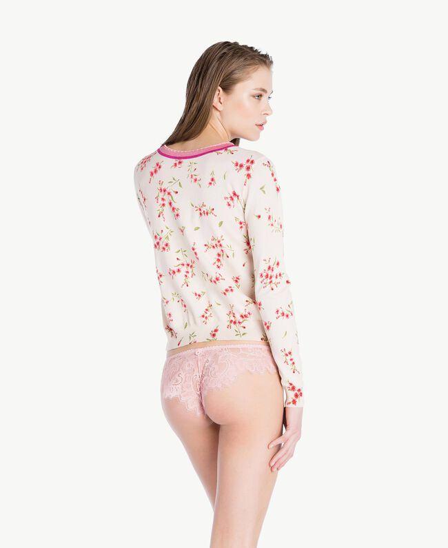 Cardigan imprimé Imprimé Petite Fleur Rose «Pêche Poudré» Femme LS8BTT-04