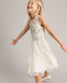 Embroidered tulle and lace dress Pale Cream Child 191GJ2QC0-03