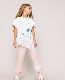 """Asymmetric T-shirt with lace Smile Print / """"Papers"""" White Child 201GJ2318-02"""