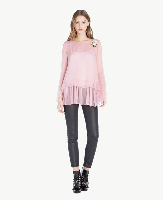 Bluse aus Seide Rosa Hortensie Frau PS8224-05