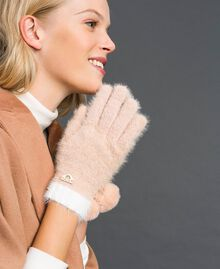Fur effect pompom gloves Ivory / Nude Beige Woman 192LI4ZPP-0S