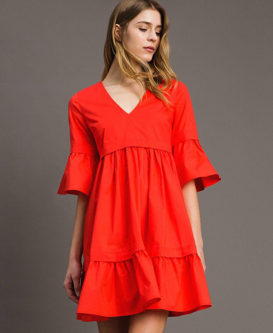 Robe en popeline Rouge Grenadine Femme 191TT2235-01