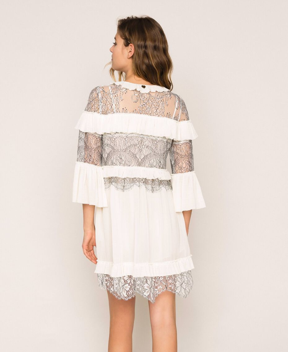 Pleated dress with two-tone lace White Snow Woman 201TT2142-03