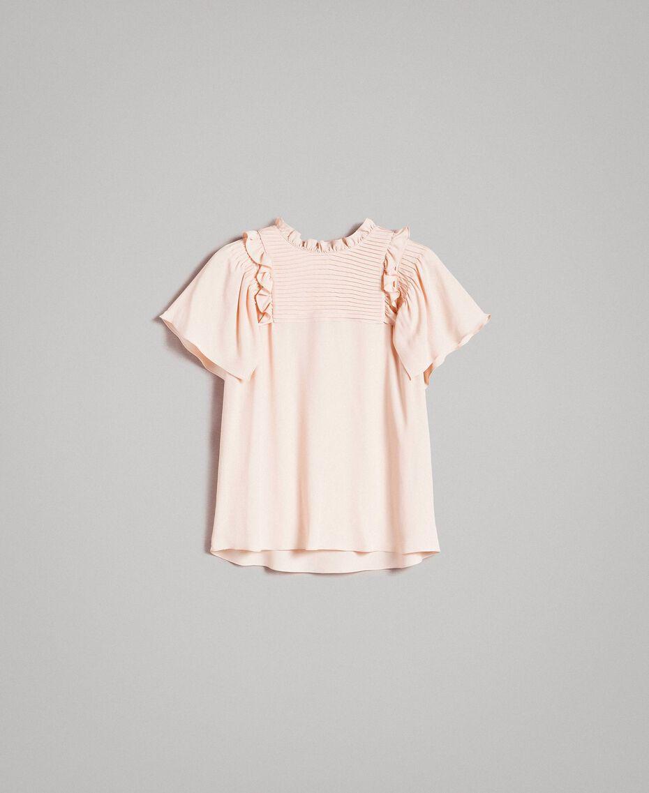 Rüschen-Bluse aus Seide-Mix Blütenknospenrosa Frau 191TP2136-0S
