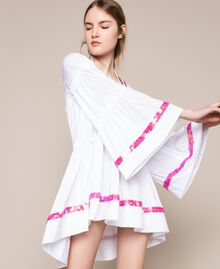 Kaftan with flounces and sequins White Woman 201LM2AQQ-01