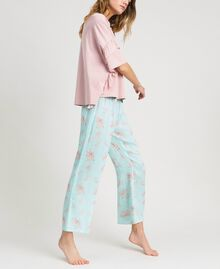 Ruffled long pajamas Mousse Blue Leaf Print Woman 191LL2FBB-02
