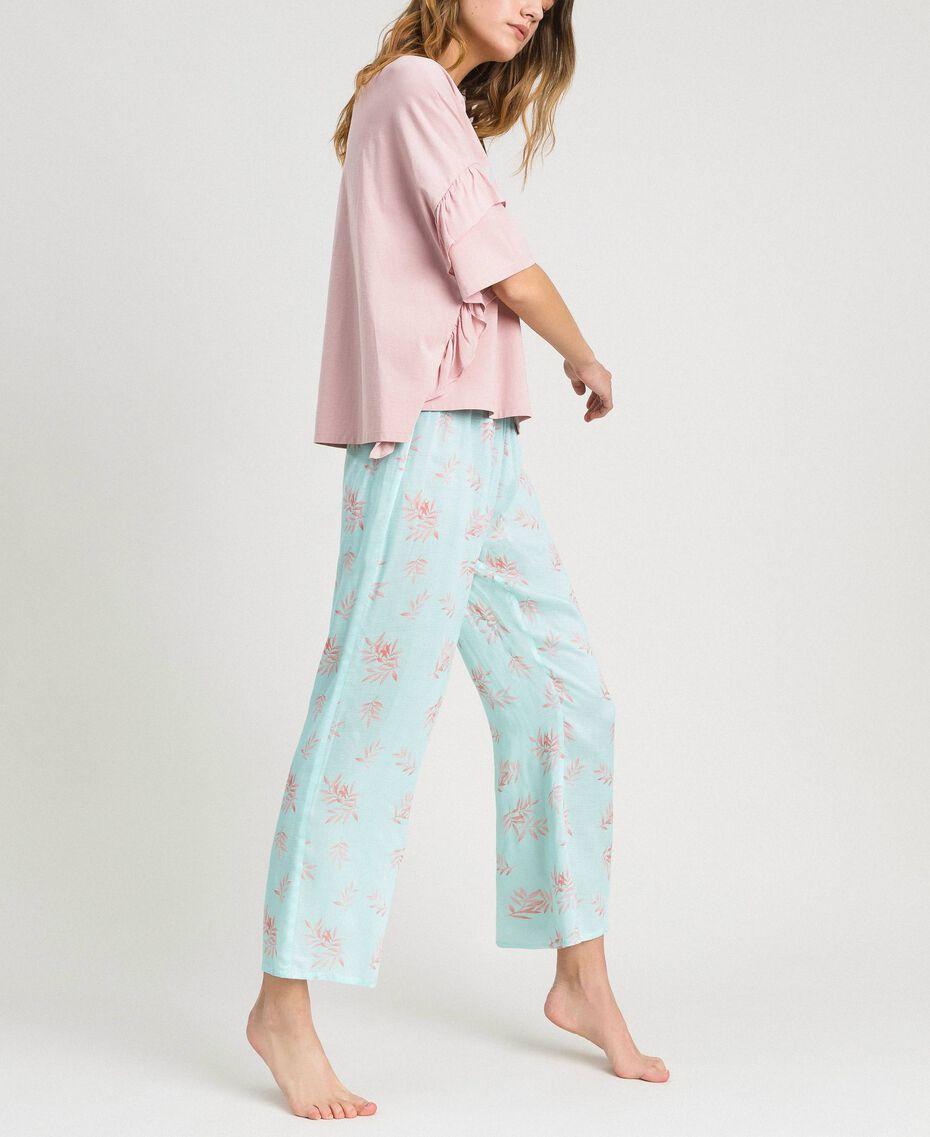 Langer Pyjama mit Rüschchen Motiv Blätter Mousse Blau Frau 191LL2FBB-02