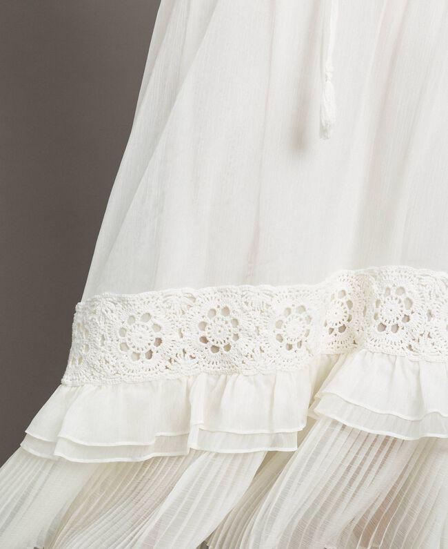 Long skirt with crochet insert Ivory Woman 191LM2NEE-04