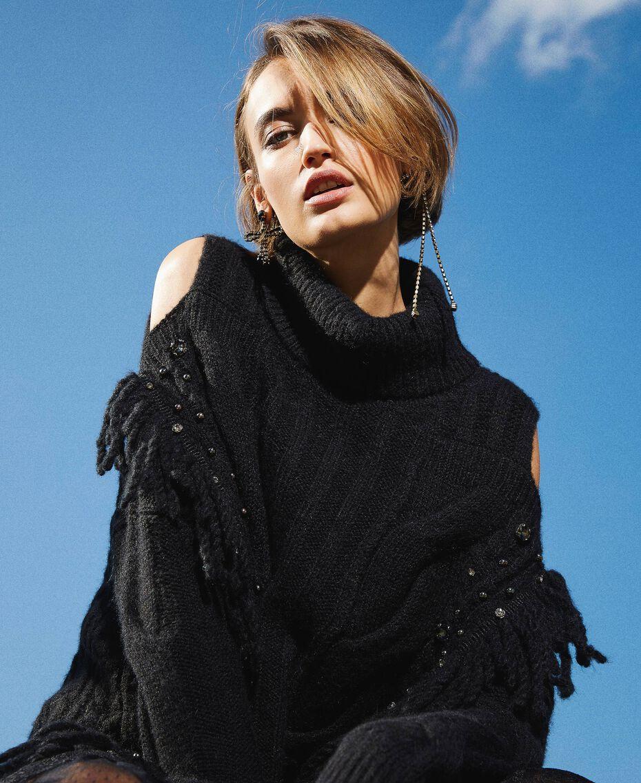 Maxi pull en laine et alpaga avec broderie Noir Femme 202TT3353-01