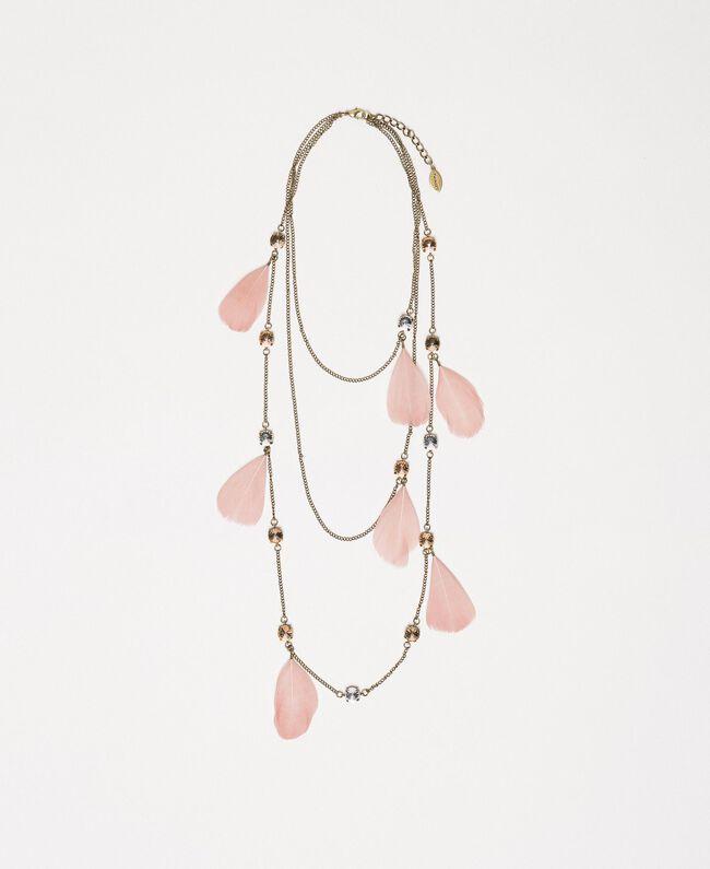 Halskette mit Federn und Strass Blütenknospenrosa Frau 201TA4314-01