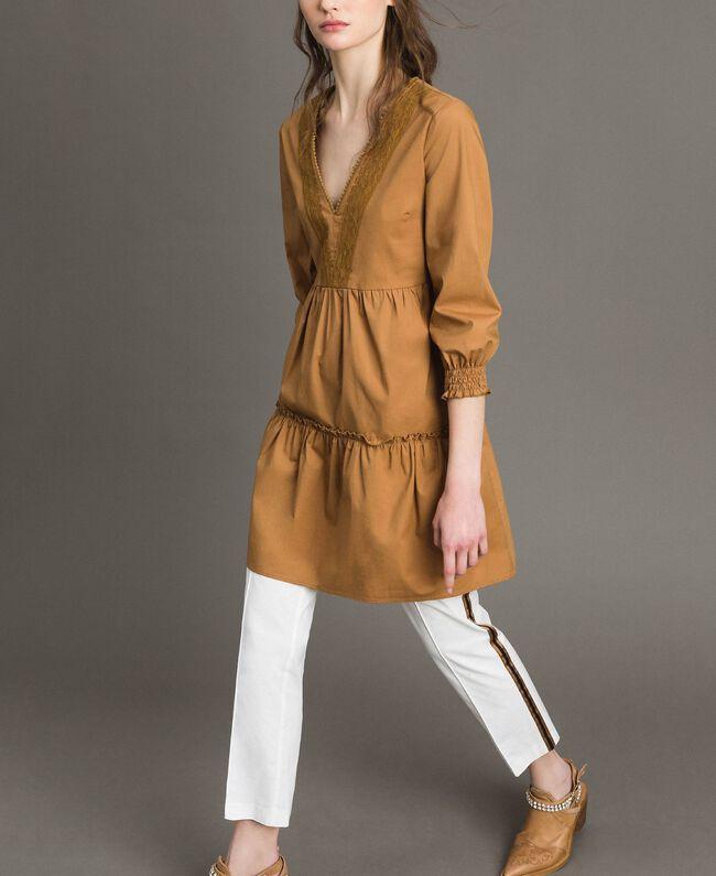 """Popeline-Kleid mit Spitzeneinsätzen """"Savannah"""" Beige Frau 191ST2046-0T"""